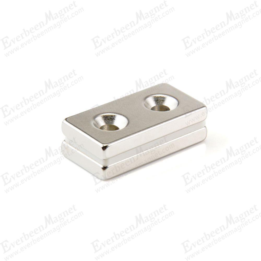 n52 neodymium block magnet with two countersunk